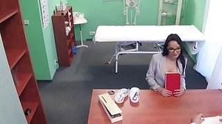Slim patient doing doctors dick in office