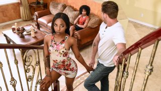 Boyfriend struggle between ebony milf and girlfriend