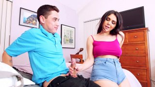 Italian Valentina Nappi sucks cock and licks balls