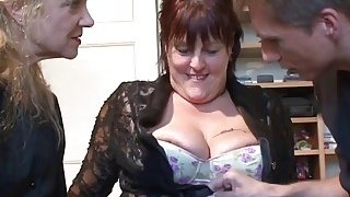 Busty mature whores sharing massive dick