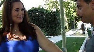 A sexy brunette BBW Lexi Summer gives nice titjob before gets her pussy drilled