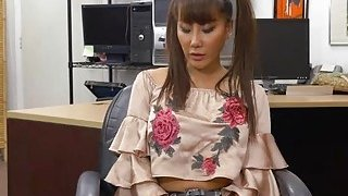 Lovely asian Tiffany Rain sells a weapon and ends up banged hard