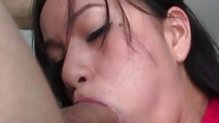 Hard cock disappears in brunette babe