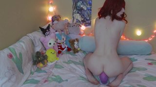 Cute redhead babe with small tits masturbates and toys herself