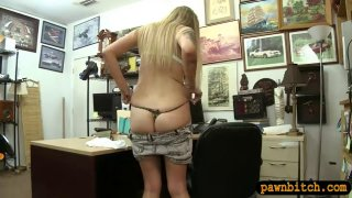 Petite blond babe banged at the pawnshop