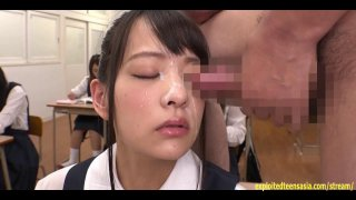 Abe Mikako Gets Massive Bukkake Face In Classroom