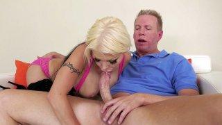 Blonde Barbie Sins orally serves Mark Wood