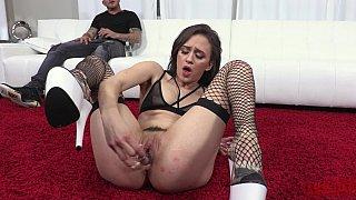 Insatiable anal slut sucks cock
