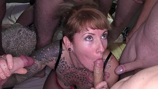 Tatted-up Euro sluts get gang-banged
